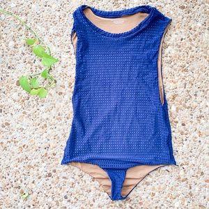 Acacia Swimwear Blue Mesh Cloud 9 One Piece Suit